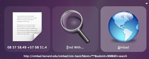 Quicksilver SIMBAD Search Screenshot